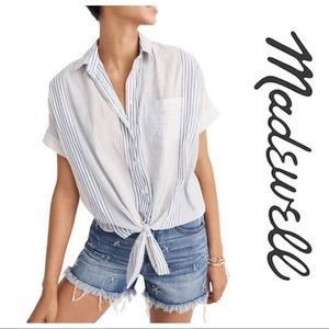 Madewell Tie Front Short Sleeve Shirt
